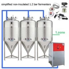CFSOT1-10xCCT1000SLP-AK Complete set for the fermentation of beer with 10 pcs of the simplified CCF 1000 liters, on-tank control – assembly kit