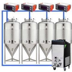 CFSCT1-4xCCT100SLP : Complete fermentation set with 4pcs of CCT-SLP 120 liters, direct cooling