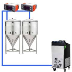 CFSCT1-2xCCT100SNP : Complete fermentation set with 2pcs of CCT-SNP 120 liters, direct cooling