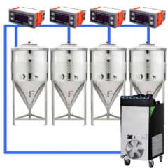 CFSCT1-4xCCT100SNP : Complete fermentation set with 4pcs of CCT-SNP 120 liters, direct cooling