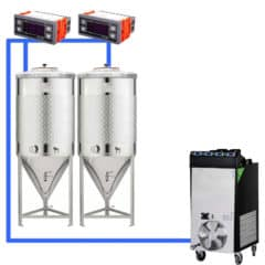 CFSCT1-2xCCT500SNP : Complete fermentation set with 2pcs of CCT-SNP 625 liters, direct cooling