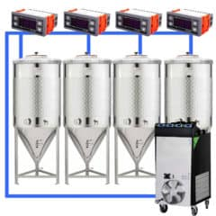 CFSCT1-4xCCT200SNP : Complete fermentation set with 4pcs of CCT-SNP 240 liters, direct cooling