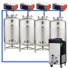 CFSCT1-4xFMT500SLP : Complete fermentation set with 4pcs of FMT-SLP 625 liters, direct cooling