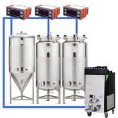 CFSCT1-1xCCT100SNP-2xFMT100SLP : Complete fermentation set with 1pc of CCT-SNP 120 liters and 2pcs of FMT-SLP 120 liters, direct cooling