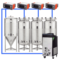 CFSCT1-1xCCT200SNP-3xFMT200SLP : Complete fermentation set with 1pc of CCT-SNP 240 liters and 3pcs of FMT-SLP 240 liters, direct cooling
