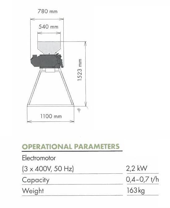 Malt mill MM-700 technical parameters