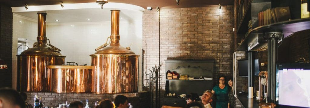 Breworx Classic breweries - the wort brew machine is placed in interior of the restaurant