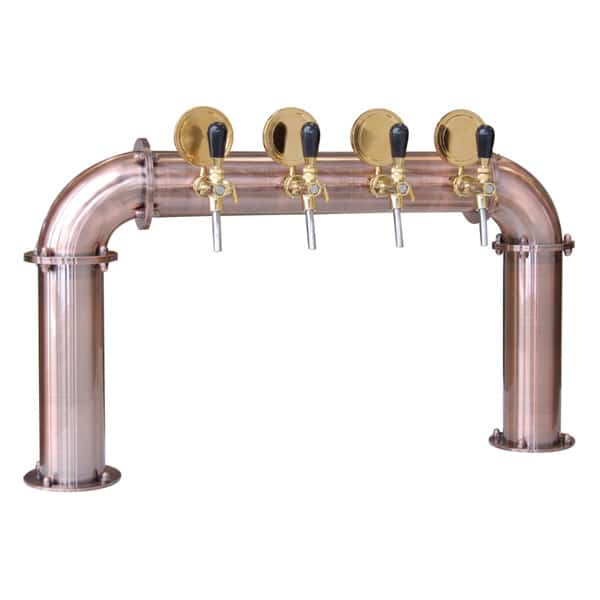 "BDT-BR4V Beverage dispense tower ""Bridge"" for 4pcs of beverage taps - Copper design with protective varnish"