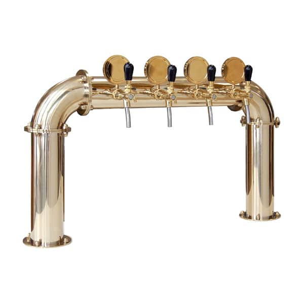 "BDT-BR4V Beverage dispense tower ""Bridge"" for 4pcs of beverage taps - Gold and titanium design"