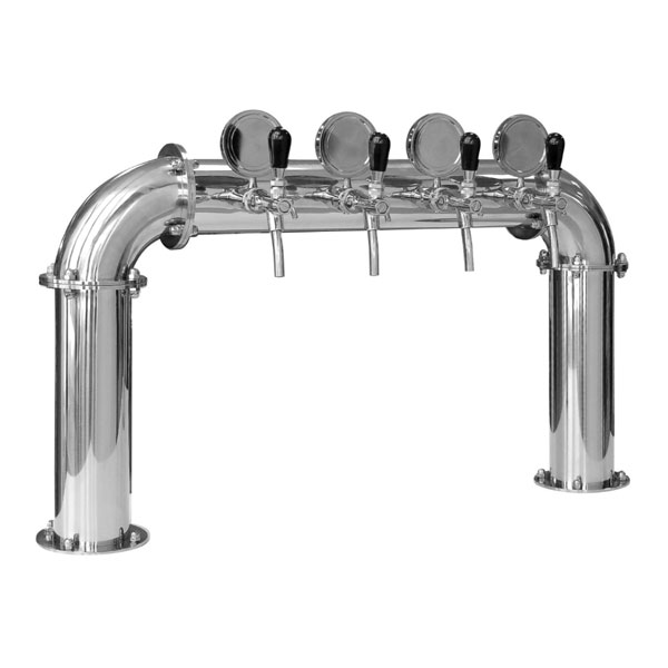 "BDT-BR4V Beverage dispense tower ""Bridge"" for 4pcs of beverage taps - Polished stainless steel design"