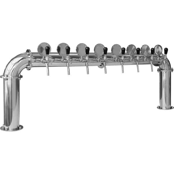 BDT-BR8V Beverage dispense tower Bridge 8-valves : Polished stainless steel design