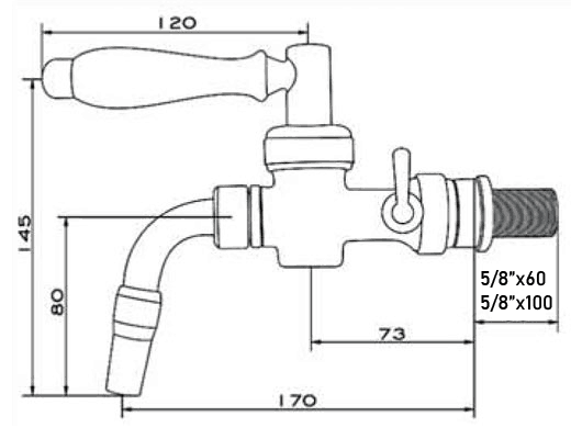 Dimensions of the DTP-NO100 Nostalgia beer dispense tap