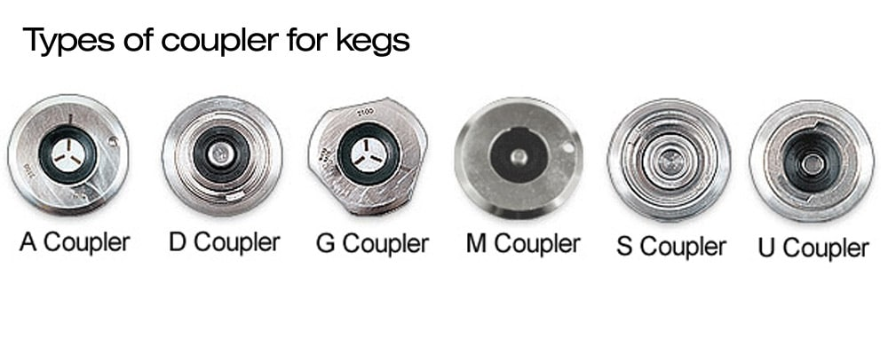 Six types of couplers for the stainless steel kegs