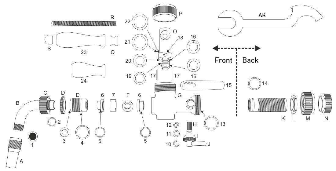 Spare parts for the DTP-NO100 Nostalgia dispense tap