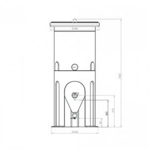 PE fermentační nádrž 60 litrů - dimensony