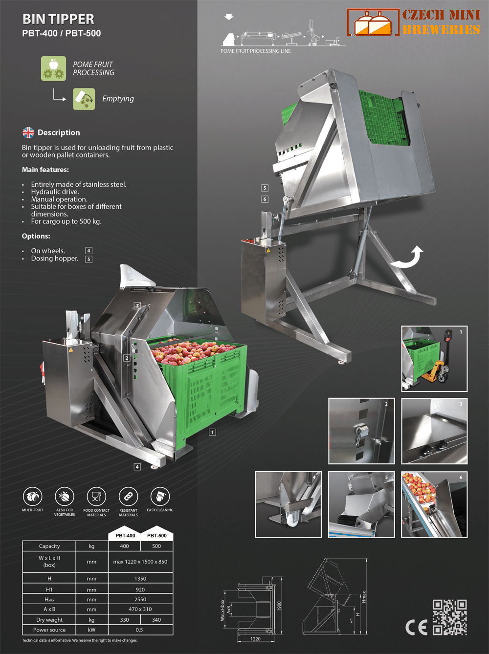 PBT-400-500-Fruit-pallet-bin-tipper-description