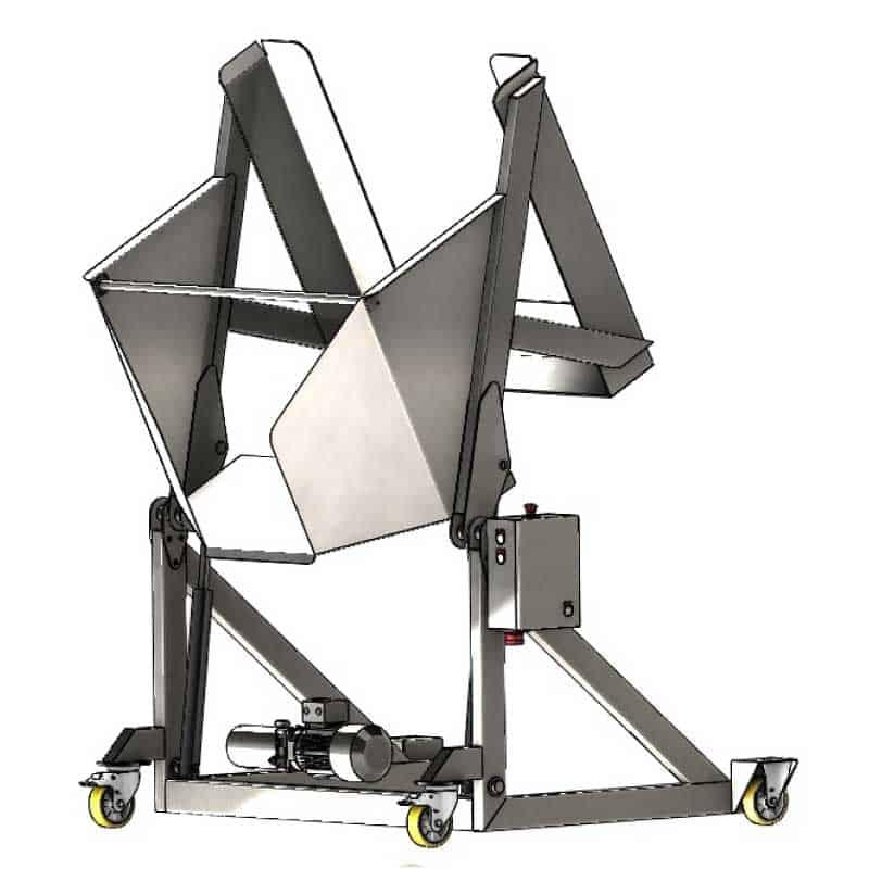 PBT 400 pallete bin tipper 02 - PBT-400 : Pallet Bin Tipper for boxes with fruit 400 kg - fme