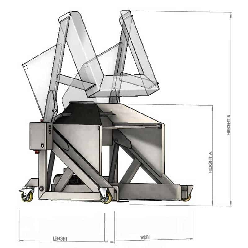 PBT-400 Pallete bin tipper - dimensions