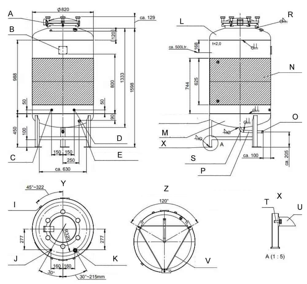 Drawings of the FMT-SLP-500HBT beer fermentation tank
