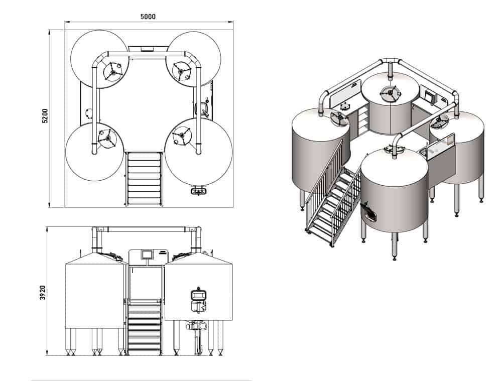 BREWORX QUADRANT 1000 : Wort brew machine - dimensions of the brewhouse