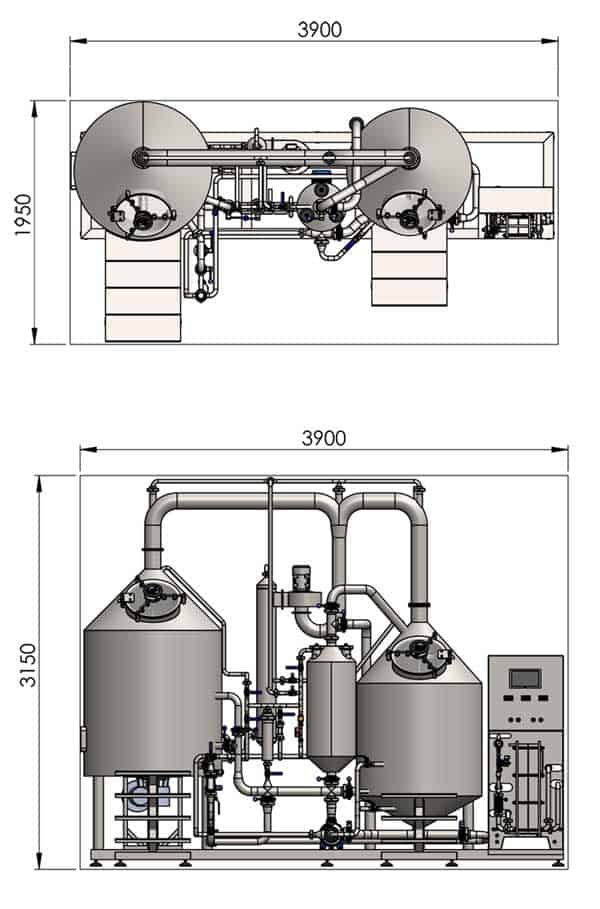 BREWORX CLASSIC-ECO 300 brewhouse dimensions