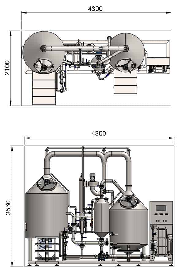 BREWORX CLASSIC-ECO 500 : Wort brew machine - the brewhouse - dimensions