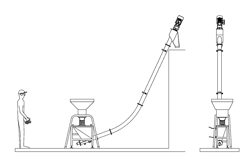 Reductor for the malt mill and screw conveyor