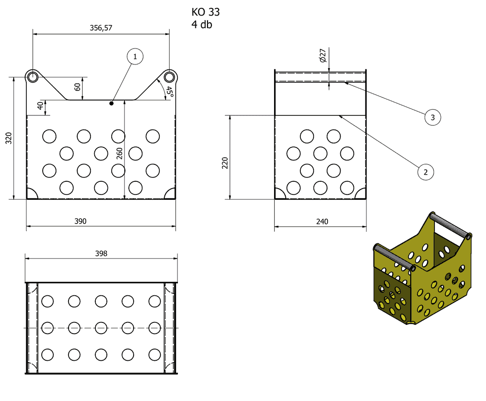 PBA-200MG Dimensions of the steel box for bottles