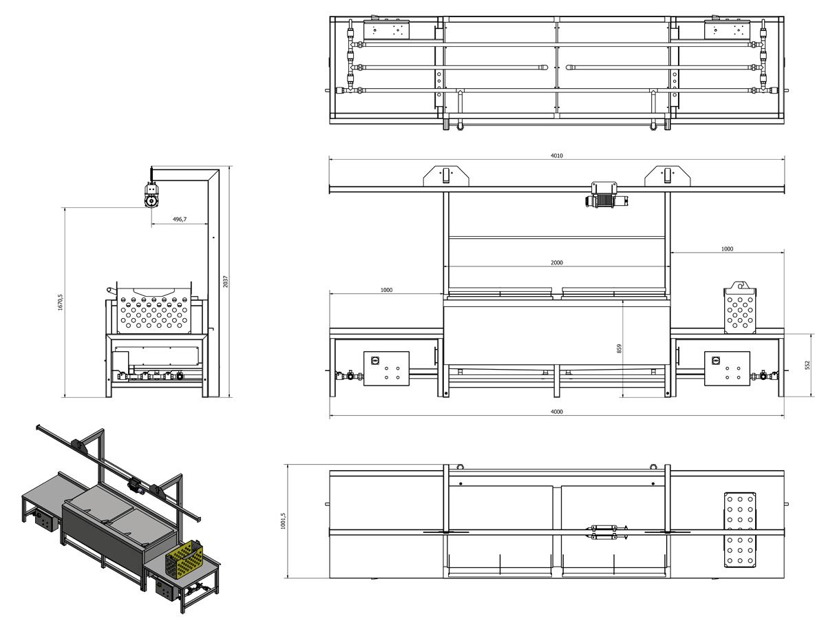 PBA 400MG 01 BATH PASTEURIZER DIMENSIONS WITH TABLES - PBA-400MG : Bottle submersible pasteuriser - pba
