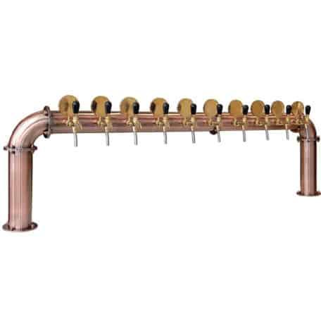 BDT-BR10V Beer dispense tower with ten beer taps - copper design