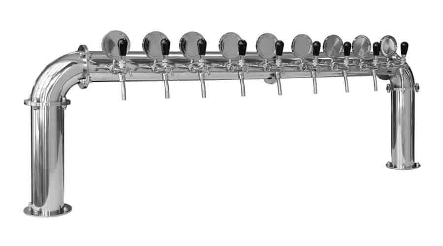 BDT-BR10V Beverage dispense tower Bridge 10-valves : Polished stainless steel design