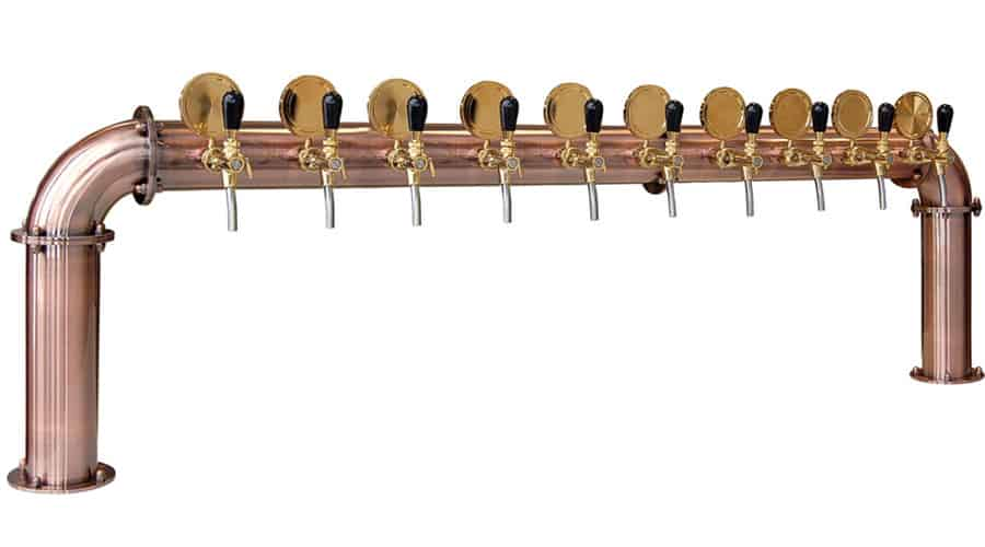 BDT-BR10V Beverage dispense tower Bridge 10-valves : Copper design with protective varnish.