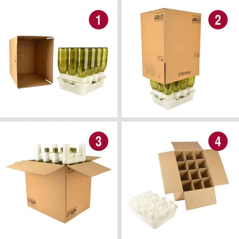 balení lahví do kartonových krabic rychlou sušičkou lahví