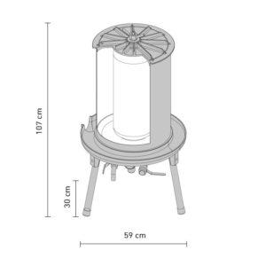 Hydraulic apple press 90 liters dimensions
