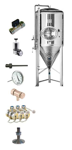 CCT SHP3 1000DE standard equipment - CCT-SHP3-1000DE : Cylindrically-conical universal fermentor 1000/1200 liters 3.0 bar (non-insulated / insulated) - ccti, cmti, cctshp, classic, hft