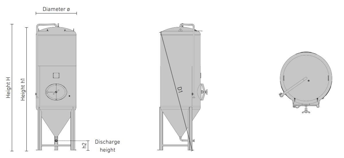 cct shp3 dimensions - CCT-SHP3-1000DE : Cylindrically-conical universal fermentor 1000/1200 liters 3.0 bar (non-insulated / insulated) - ccti, cmti, cctshp, classic, hft