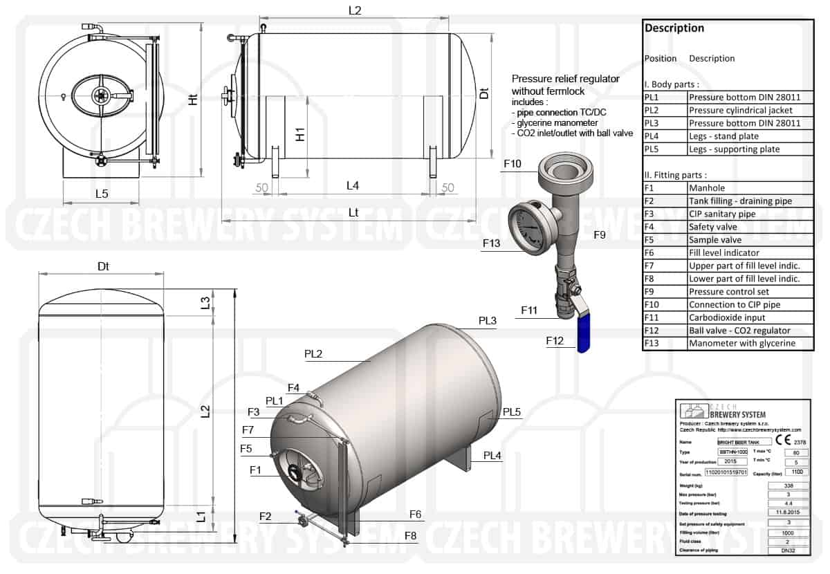BBTHN 1200 2015 description en - BBTHN-6000C Cylindrical pressure tank for storage and final conditioning of carbonated beverage before bottling, horizontal, non-insulated, 6000/6905L, 3.0bar