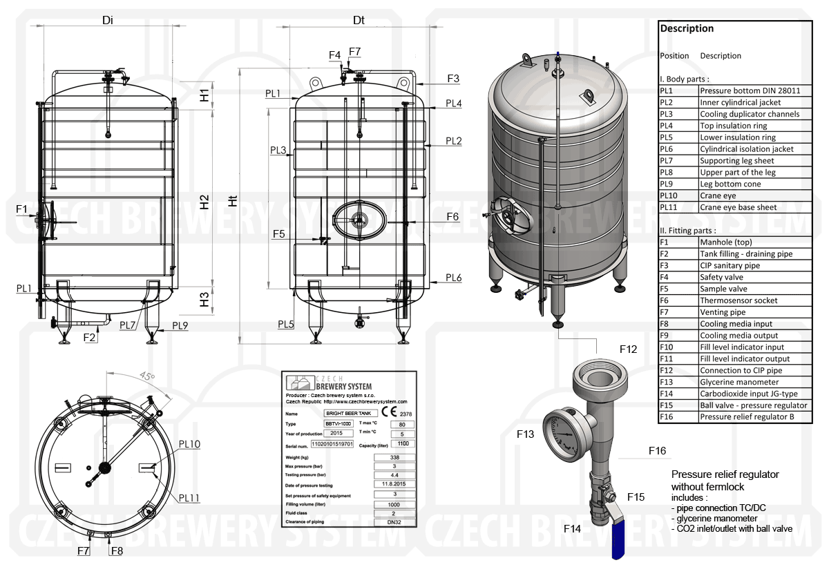 BBTVI 2000 2015 description - BBTVI-12000C Cylindrical pressure tank for storage and final conditioning of carbonated beverage before bottling, vertical, insulated, 12000/13468L, 3.0bar