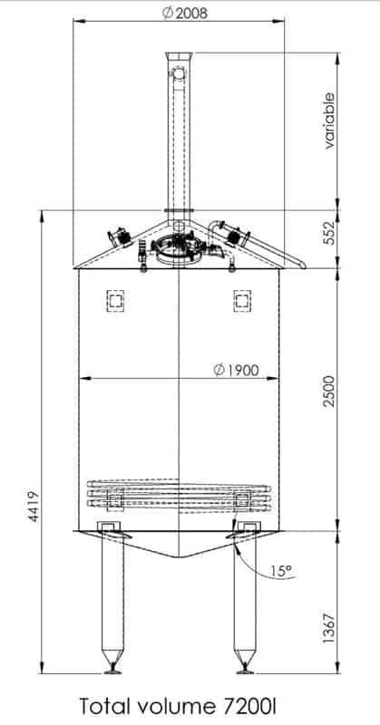 BH BWOP 6000 wort collector 02 dim - BREWORX OPPIDUM 6000 : Wort brew machine - the brewhouse
