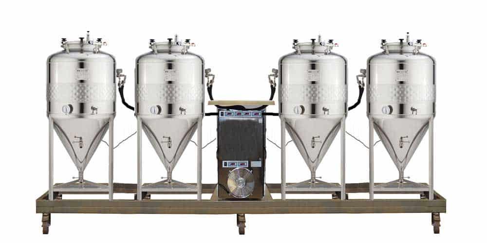 Kompaktní fermentační jednotky s nezávislým systémem chlazení a zjednodušenými válcovými kónickými fermentory CCT-SHP