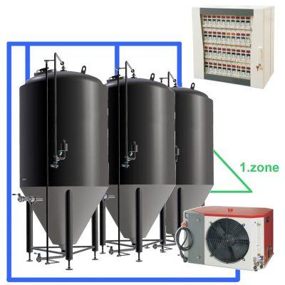CC1Z: pilnas fermentacijos rinkinys su centriniu valdymo bloku, CCT talpyklos su viena aušinimo zona