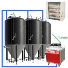 CFSCC1-4xCCT1500C Complete set for the fermentation of beer with 4x CCT-1500C, central control cabinet