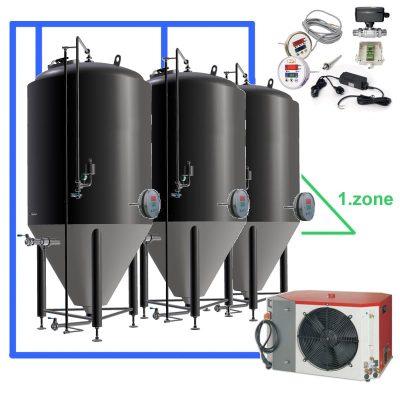 OT1Z: Visi fermentacijos rinkiniai su valdikliu ant kiekvieno bako, cisternos su viena aušinimo zona