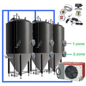 OT2Z-CCT500C Complete fermentation sets with two controllers and cooling zones on each tank, insulated CCT-500C fermentors 3.0bar