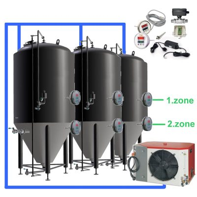 OT2Z OT1Z : Complete fermentation sets with controller on each tank, tanks with two cooling zones