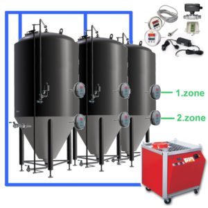 OT2Z-CCT1000C Complete fermentation sets with two controllers and cooling zones on each tank, insulated CCT-1000C fermentors 3.0bar