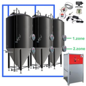OT2Z-CCT2000C Complete fermentation sets with two controllers and cooling zones on each tank, insulated CCT-2000C fermentors 3.0bar