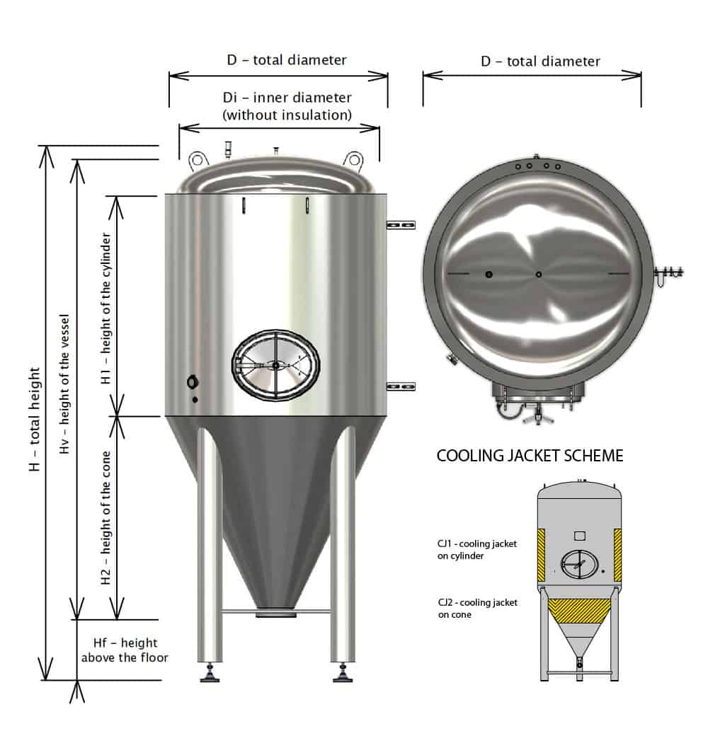 CCT M BT dimensions cjs 1000x1050 - CCTM-1500A2 Modular cylindrically-conical fermentation tank 1500/1865 L