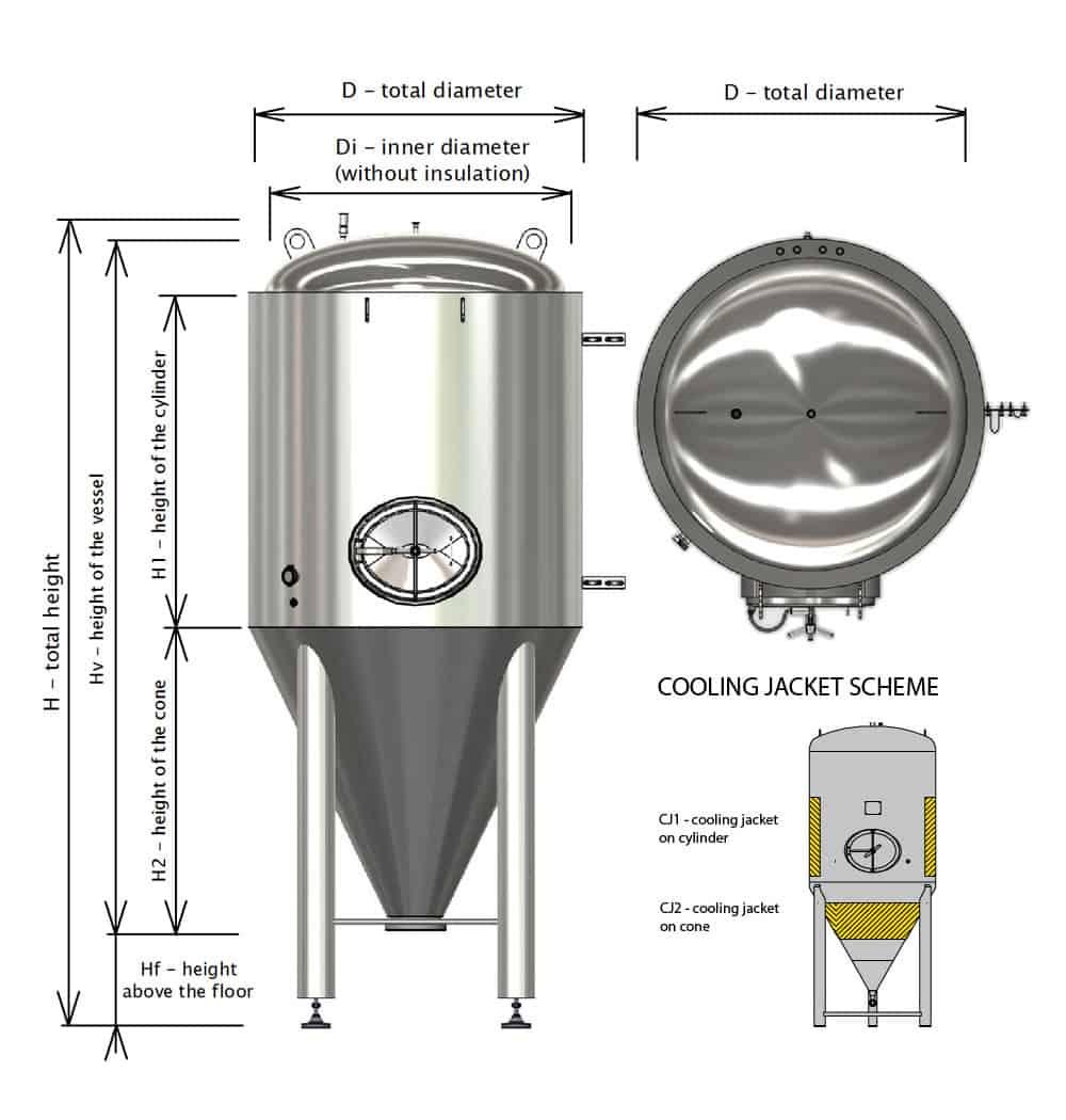 CCTM-6000BT Modular cylindrically-conical fermentation tank 6000/7100 L - Basic tank
