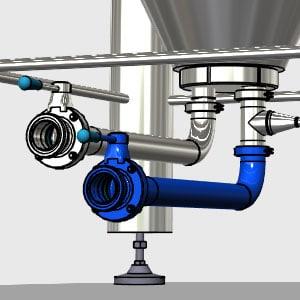 Plnicí a vypouštěcí potrubí pro CCT-M modulární fermentační nádrže